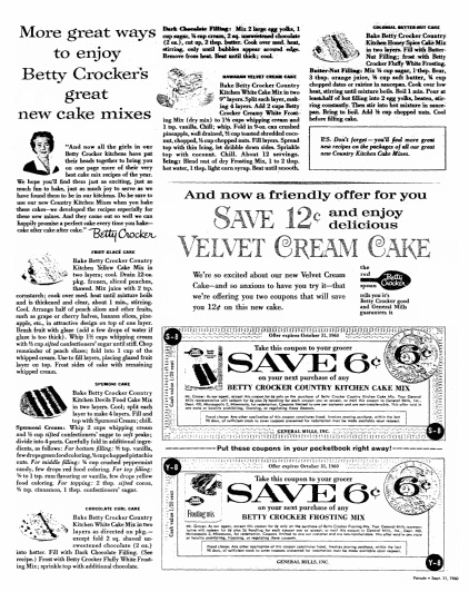 Betty Crocker cake recipes, Oregonian newspaper article 11 September 1960