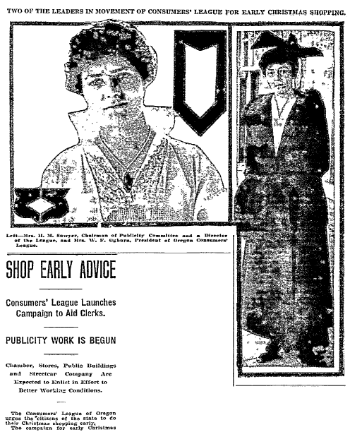 article about doing Christmas shopping right after Thanksgiving, Oregonian newspaper article 8 November 1915