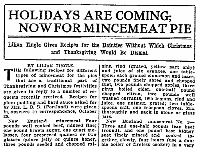 article about mincemeat pie recipes, Oregonian newspaper article 19 November 1911