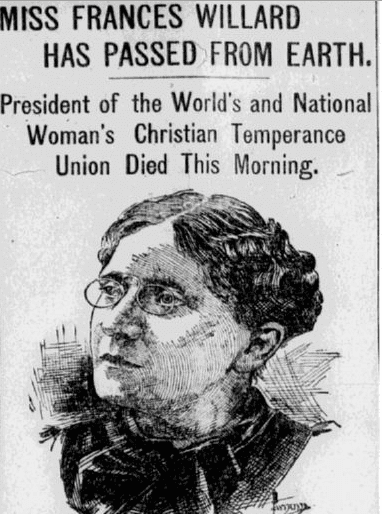 obituary for Frances E. Willard, Pawtucket Times newspaper article 18 February 1898
