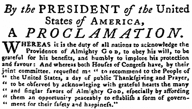 article about President George Washington's 1789 Thanksgiving Day Proclamation, Pennsylvania Gazette newspaper article 14 October 1789
