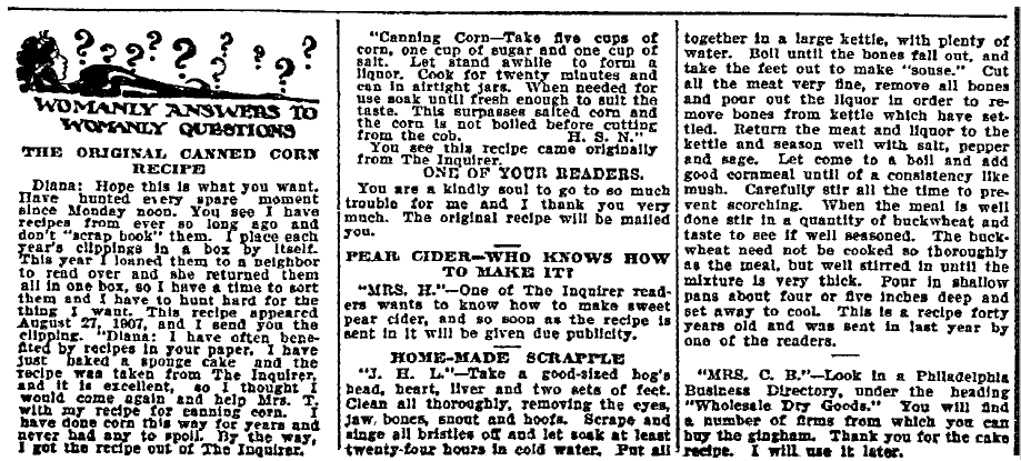 scrapple recipe, Philadelphia Inquirer newspaper article 8 October 1908