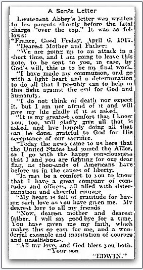 article reprinting a letter from Lieutenant Edwin A. Abbey, Philadelphia Inquirer newspaper article 23 December 1917