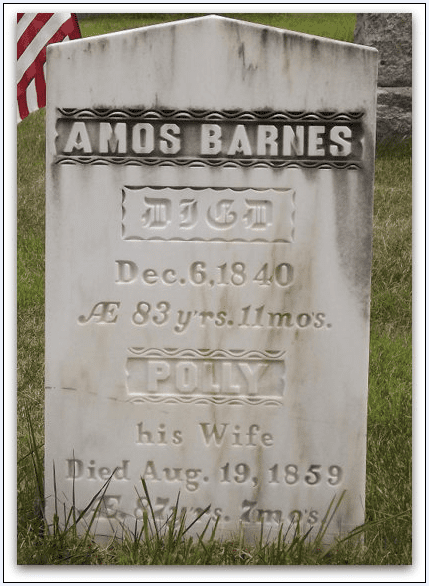 photo of the tombstone for Amos and Polly Barnes