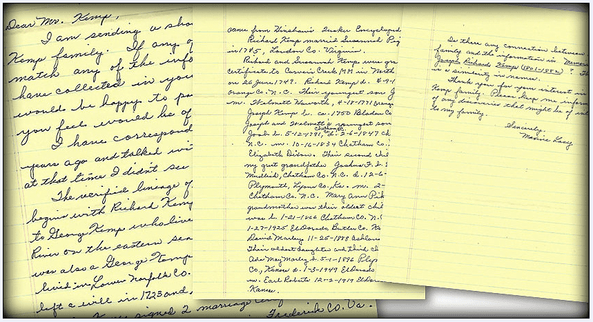 photo of a genealogy letter