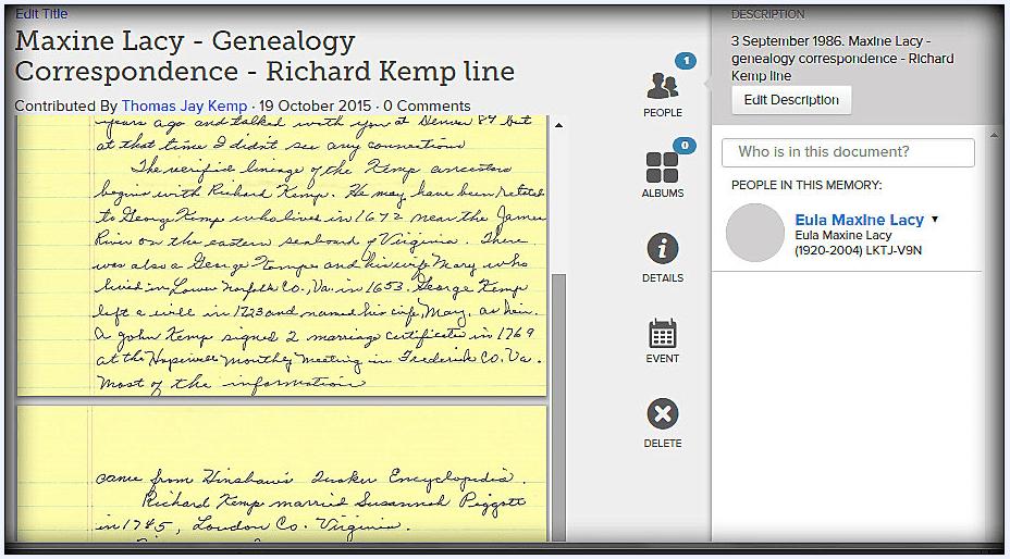 screenshot of a genealogy letter online