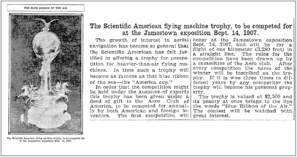 article about an aviation trophy offered by Scientific American, Plain Dealer newspaper article 7 September 1907