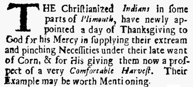 article about Indians in Plymouth, Massachusetts, celebrating Thanksgiving, Public Occurrences newspaper article 25 September 1690