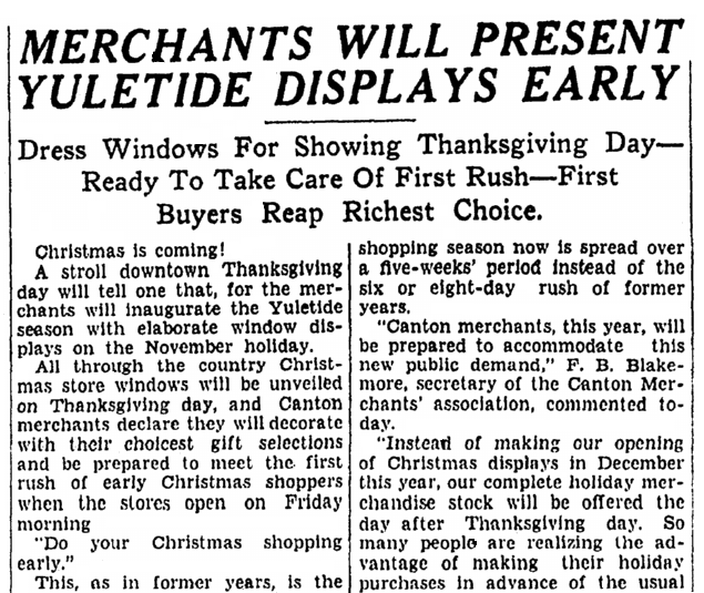 article about doing Christmas shopping right after Thanksgiving, Repository newspaper article 23 November 1927