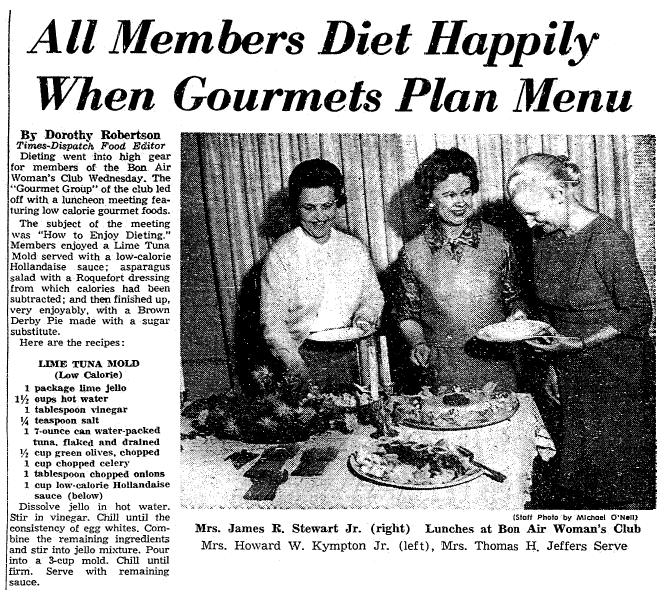 recipes, Richmond Times Dispatch newspaper article 27 February 1964