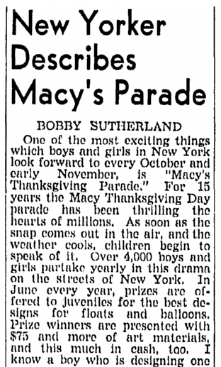 article about the Macy's Thanksgiving Day Parade, Richmond Times Dispatch newspaper article 3 November 1940