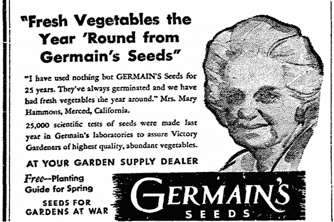 ad for Germain's seeds, Riverside Daily Press newspaper advertisement 24 March 1944