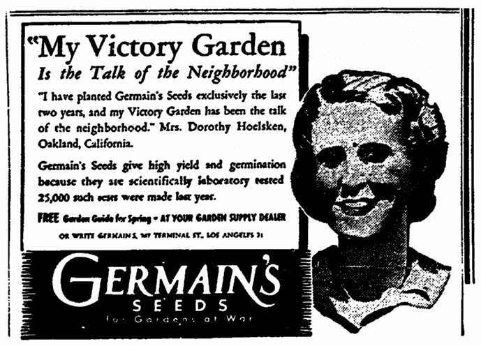 ad for Germain's seeds, Sacramento Bee newspaper advertisement 24 February 1945