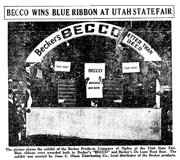 photo of the display booth for Becker Products at the Utah State Fair, Salt Lake Telegram newspaper article 10 October 1920
