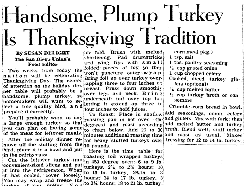 article about Thanksgiving recipes, San Diego Union newspaper article 10 November 1955