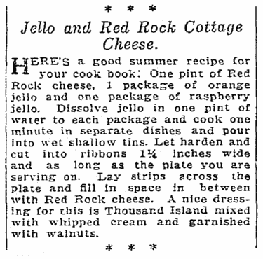 jello and cottage cheese recipe, Seattle Daily Times newspaper article 8 July 1923