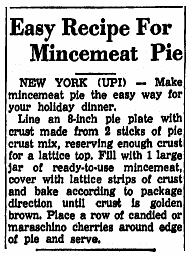 article about a mincemeat pie recipe, Trenton Evening Times newspaper article 19 November 1959