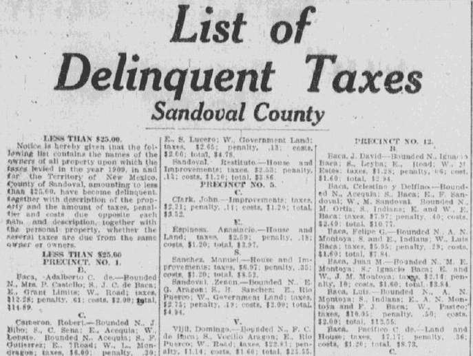 list of delinquent taxes, Albuquerque Journal newspaper article 2 September 1910