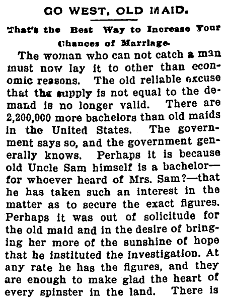 article about a government report on bachelors and unmarried women in the United States, American Citizen newspaper article 14 October 1898
