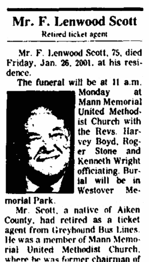 obituary for F. Lenwood Scott, Augusta Chronicle newspaper article 28 January 2001
