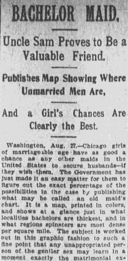 article about a government report on bachelors and unmarried women in the United States, Boston Journal newspaper article28 August 1898