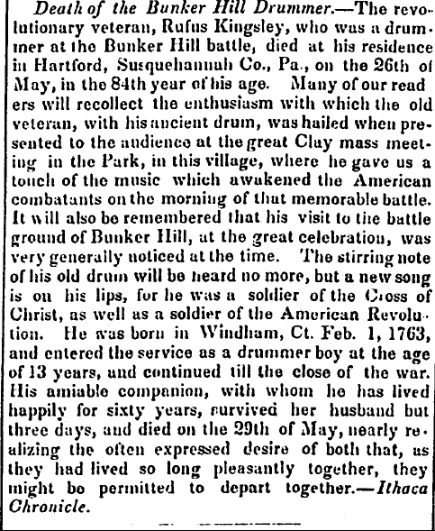 obituary for Rufus Kingsley, Centinel of Freedom newspaper article 23 June 1846