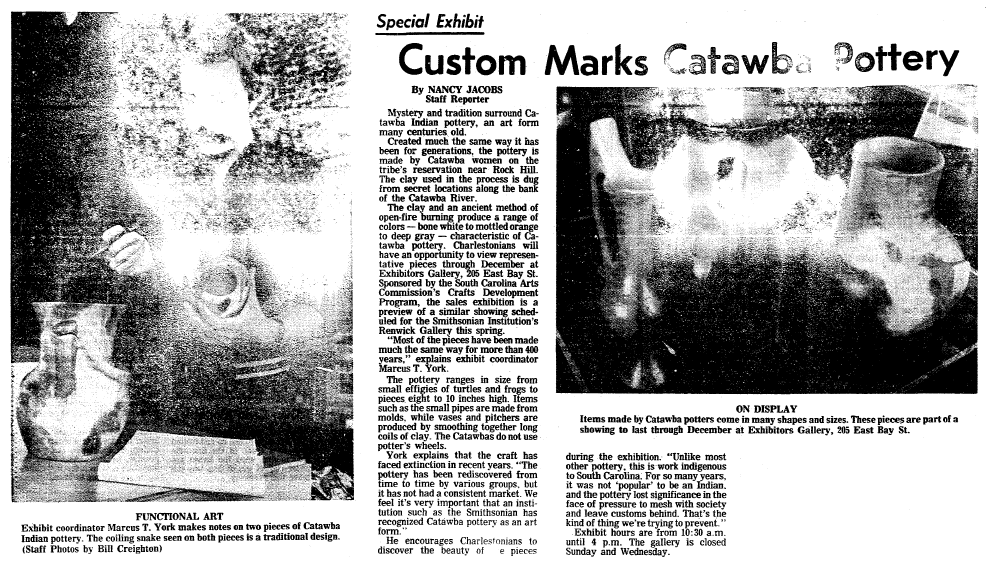 article about Catawba Indian pottery, Charleston News and Courier newspaper article 15 November 1977