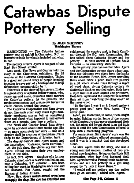article about Catawba Indian pottery, Charleston News and Courier newspaper article 25 November 1977