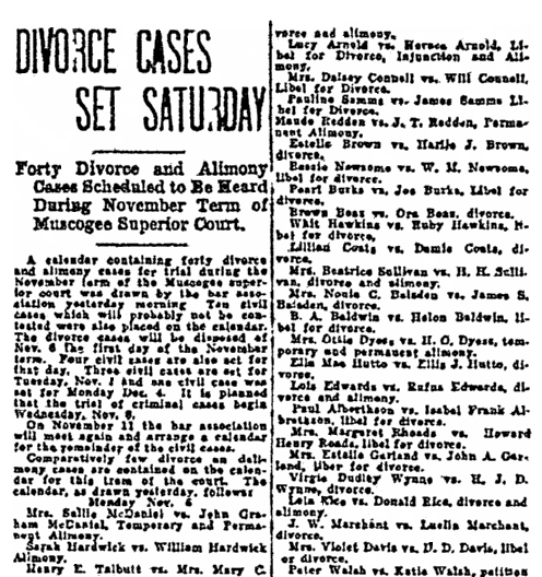 divorce notices, Columbus Daily Enquirer newspaper article 29 October 1922