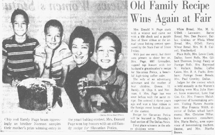 Old Family Recipe Wins Again at Fair, Dallas Morning News newspaper article 12 October 1963