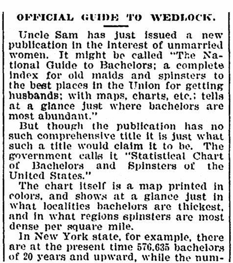 article about a government report on bachelors and unmarried women in the United States, Denver Post newspaper article 23 September 1898
