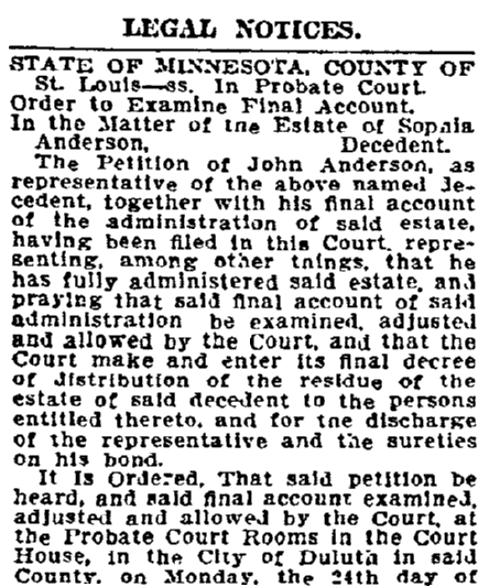 legal notices, Duluth News-Tribune newspaper article 3 August 1908