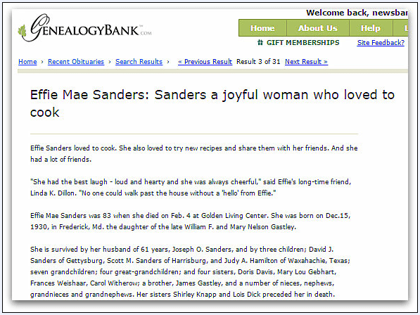 obituary for Effie Mae Sanders, Gettysburg Times newspaper article 6 March 2014