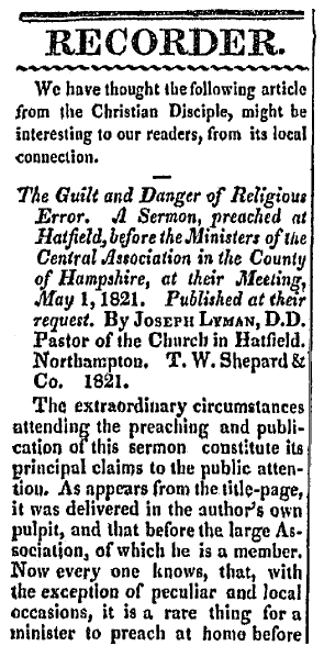 article about a sermon delivered by Rev. Joseph Lyman, Hampden Patriot newspaper article 12 December 1821