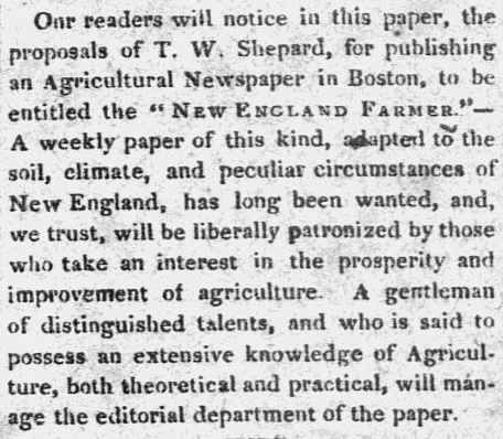 "article about T. W. Shepard founding the ""New England Farmer"" journal, Hampshire Gazette newspaper article 22 May 1822"