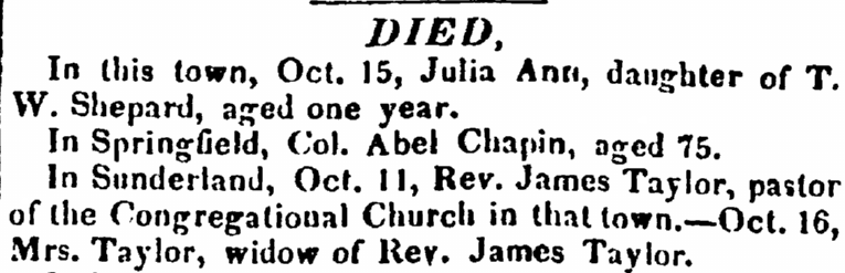 death notices, Hampshire Gazette newspaper article 19 October 1831