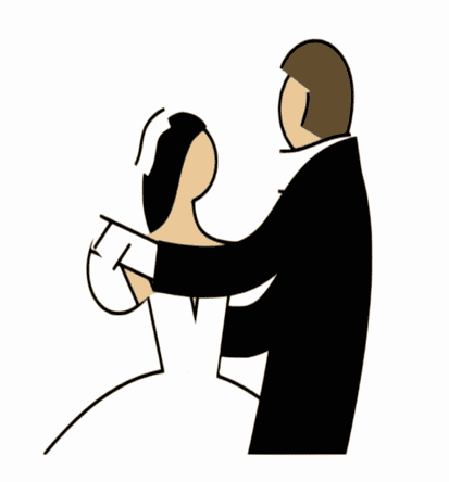 illustration of a couple at their wedding