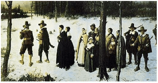 "Painting: ""Pilgrims Going to Church"" by George Henry Boughton, 1867"