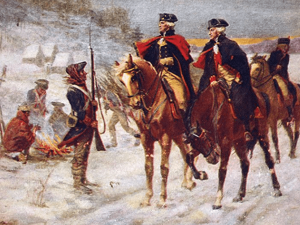 "Illustration: ""George Washington and Lafayette at Valley Forge"" by John Ward Dunsmore, 1907. Credit: Wikimedia Commons."