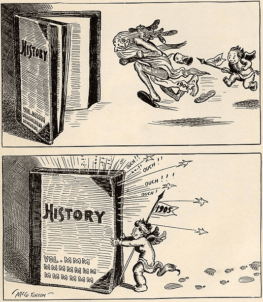 """Illustration: cartoon showing an infant representing """"New Year 1905"""" chasing """"Old Man 1904"""" into history"""