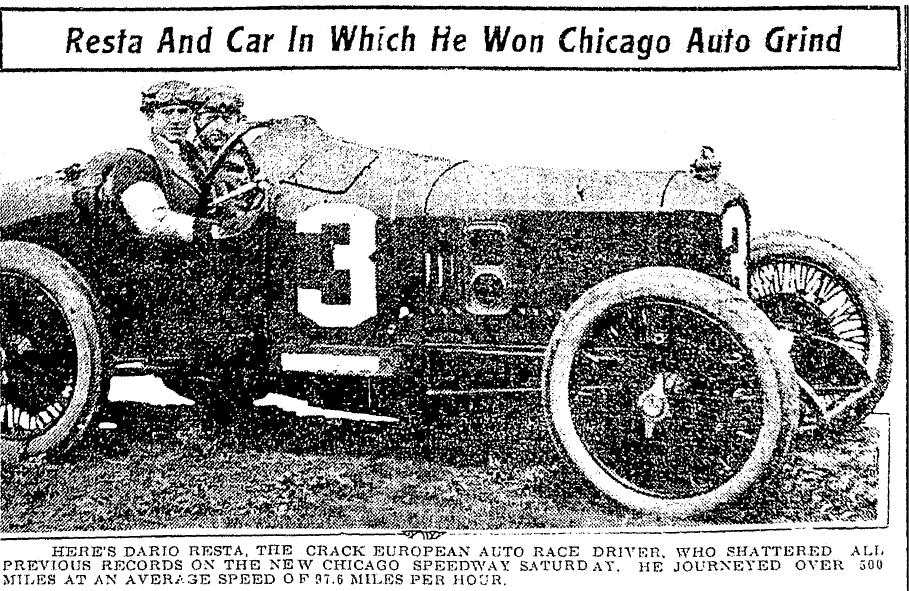 article about car racing, Jackson Citizen Patriot newspaper article 28 June 1915