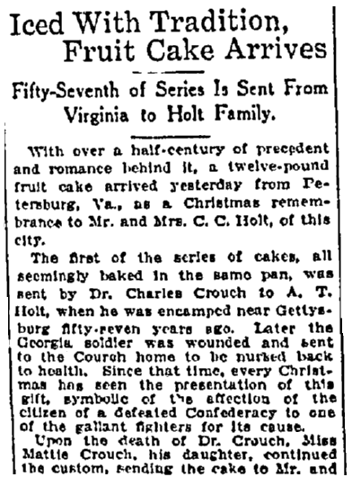 article about a fruitcake tradition between the Crouch and Holt families, Macon Telegraph newspaper article 21 December 1919