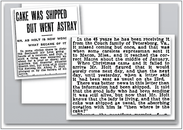 article about a fruitcake tradition between the Crouch and Holt families, Macon Telegraph newspaper article 5 January 1908