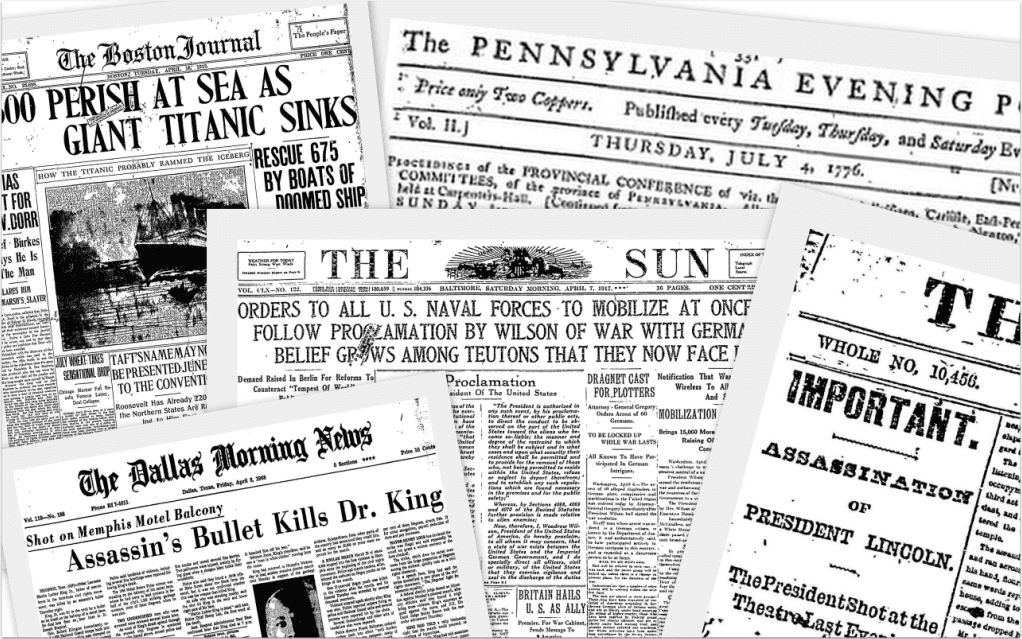 montage of the front pages of various newspapers