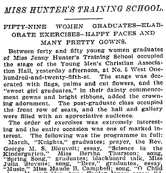 article about women graduates from a training school, New York Tribune newspaper article 8 June 1897