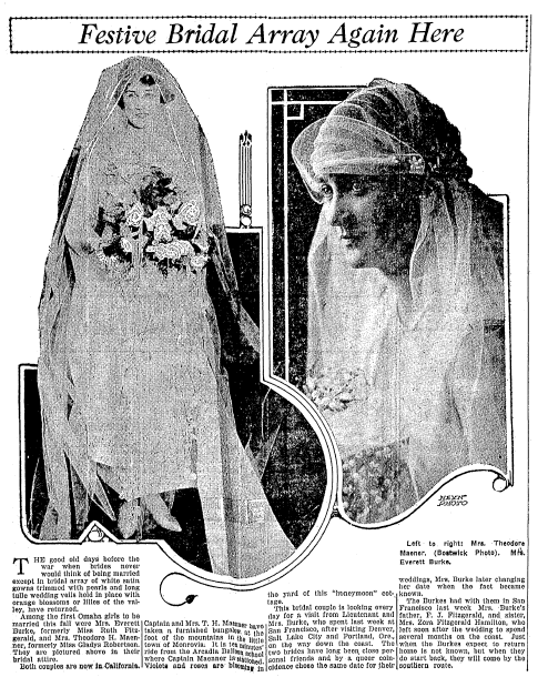 wedding announcements, Omaha World-Herald newspaper article 2 February 1919