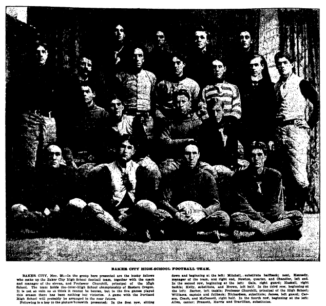 article and photo about the Baker City High School football team, Oregonian newspaper article 2 December 1901
