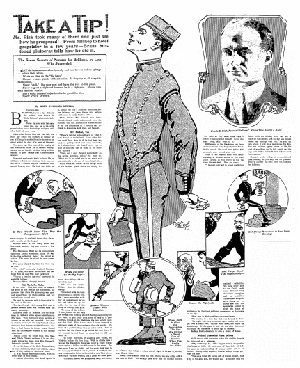 article about tipping, Philadelphia Inquirer newspaper article 18 April 1915