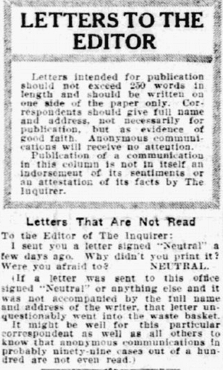 letters to the editor, Philadelphia Inquirer newspaper article 30 August 1915