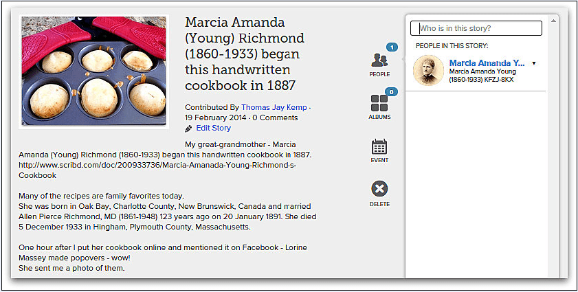 screenshot of a page from FamilySearch website showing Marcia Richmond's cookbook